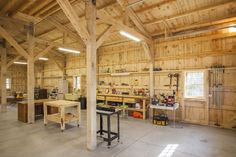 Wood Barn Workshop | Sand Creek Post & Beam  https://www.facebook.com/SandCreekPostandBeam