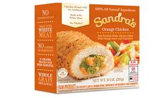 Orange Chicken - Broccoli, carrots, and orange sauce inside tasty chicken breast meat with whole grain breading.