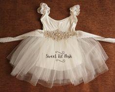 Blanco tul vestido de niña de las flores flor por SweetLilPosh