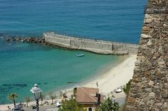 Pizzo Marina's beach can be reached in a 5 minutes walk through the alleys downhill from Piazza Repubblica, Pizzo Calabro, Vibo Valentia, Italy