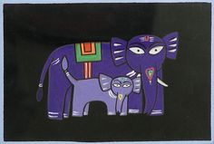 Elephant - Mother and Child (Jamini Roy Painting Reproduction on Cloth - Unframed) Madhubani Art, Madhubani Painting, Indian Folk Art, Indian Artist, Jamini Roy, Elephant Drawings, Art Drawings, Indian Arts And Crafts, Bright Paintings