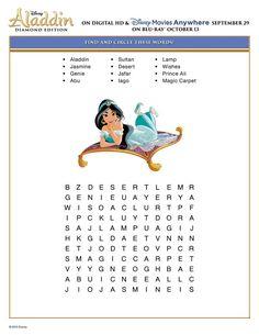 Free Printable Disney Aladdin Activity Sheets Diamond Edition Disney Aladdin Puzzle Find and Circle Word Puzzle Activity Sheet – Disney Crafts Ideas Disney Activities, Disney Games, Disney Day, Disney Trips, Activities For Kids, Travel Activities, Word Puzzles, Puzzles For Kids, Printable Word Search Puzzles