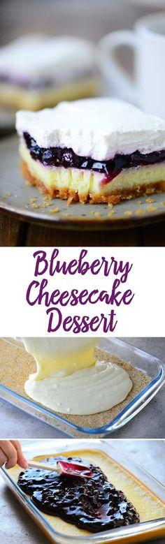 Blueberry Cheesecake Dessert recipe with light airy cheesecake topped with blueberry pie filling and whipped cream. decadent dessert recipe - fun alternative to blueberry pie 13 Desserts, Blueberry Desserts, Brownie Desserts, Cheesecake Desserts, Delicious Desserts, Yummy Food, Blueberry Cheesecake Bars, Desserts With Blueberries, Blueberry Torte