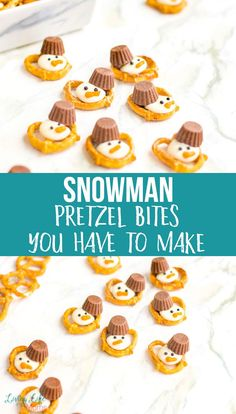 Try these cute snowman pretzel bites to take the blah out of winter and enjoy this delectable treat with pretzels and chocolate, you can't go wrong. A fun winter dessert any child would love. Easy Holiday Desserts, Holiday Cookie Recipes, Winter Desserts, Holiday Cakes, Chocolate Peanut Butter Cups, Hot Chocolate Recipes, Yummy Snacks, Yummy Treats, Fun Foods To Make