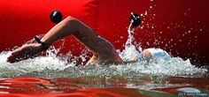 Jordan Wilimovsky competes during the men's 10-kilometer open water swimming event at the 16th FINA World Championships at the Kazanka River on July 27, 2015 in Kazan, Russia