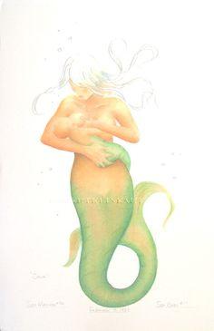 Mermaid Mother Nursing Baby Art Signed Robert Kline Matted 8x10 Print Home Nursery Decor. $20.00, via Etsy.