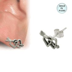www.bodyjewelry.com #hearts #earrings #studs #bodyjewelry #piercings #earstuds