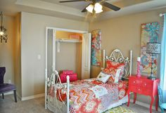 WestWind Homes Decorating Tip: Don't be afraid to add a pop of color to your daughter's WestWind Homes bedroom! Colorful bedding, wall art, and painted furniture help turn a room into a stylish and comfortable place your daughter will love. http://westwindhomes.com/ #westwindhomes #builtforyourlife #vibrantcommunities #sanfernando