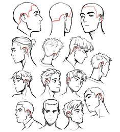 Manga Drawing Tips Drawing Heads, Drawing Base, Guy Drawing, Manga Drawing, Drawing People, Drawing Tips, Drawing Sketches, Art Drawings, Drawings Of Hair