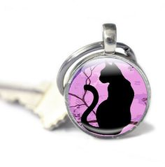New to GlassCharmed on Etsy: Cat key ring illustrated Cat and Moon Glass Keyring photo keyring key chain Silver  Key ring key fob Cat Illustration picture keyring (10.99 GBP)