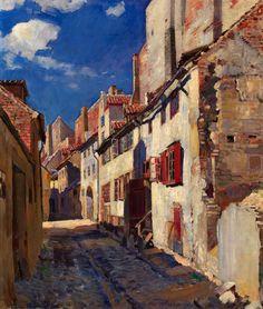"""Old Riga. Trokshnju Street"" ,  Sergei Arsenevich Vinogradov - 1924"
