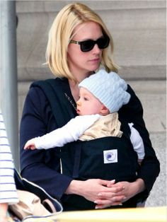 January Jones and Xander - with her ERGObaby original baby carrier! You can find one here http://www.bambinodirect.co.uk/Ergo_Baby_Original_Baby_Carrier_Black-Camel__Black_-_Camel_BC6CANL/version.asp