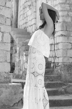 'the maker of cycles' dress Boho Bride, Boho Wedding, Wedding Gowns, Crotchet, Bridal Style, Bridal Dresses, Bell Sleeves, Backless, Elegant