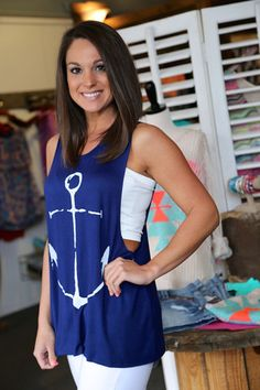 Anchor Muscle Tank {Navy} from The Rage. Saved to Σρίς ΨίδhΙίδτ. Outfits For Teens, Casual Outfits, Cute Outfits, Fashion Outfits, Womens Fashion, Casual Clothes, Casual Wear, Spring Summer Fashion, Spring Outfits