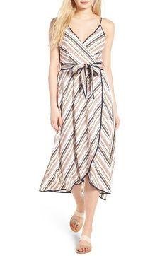 MOON RIVER Stripe Midi Faux Wrap Dress by womens-dresses