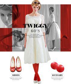 60年代イギリスのモッズシーンのファッションリーダーとして全世界にミニスカートを流行させた「ミニの妖精」Twiggyを彷彿させるスタイルです。
