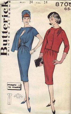 Butterick 1960s Sewing Pattern Sheath Wiggle Dress Mad Men Style Short Sleeves Tab Button Front Chemise Cropped Jacket Bust 34 Uncut FF