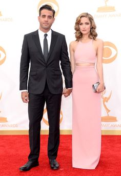 #emmyfashion Actor Bobby Cannavale (L) and actress Rose Byrne arrive at the 65th Annual Primetime Emmy Awards held at Nokia Theatre L.A. Live on September 22, 2013 in Los Angeles, California.