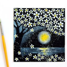Painting on black paper is fun! Create a magical night landscape of cherry blossoms in moon light easily in 30 minutes!