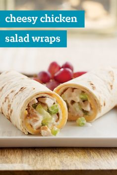 Cheesy Chicken Salad Wraps – You& got a delicious chicken salad recipe for two all wrapped up in just 10 minutes with these cheesy tortilla sandwich wraps. Wrap Recipes, Lunch Recipes, Cooking Recipes, Healthy Meal Prep, Healthy Snacks, Healthy Recipes, Salad Wraps, Tortilla, Chicken Salad Recipes