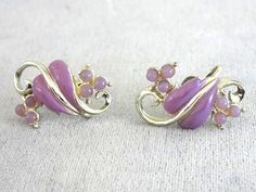 Violet Leaf Vine Earrings Beads Vintage by victoriajamesdesigns