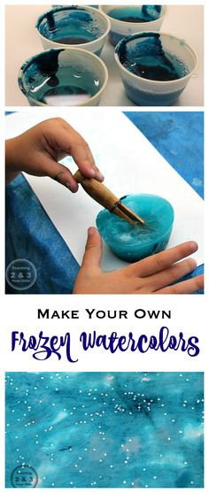 Frozen Sparkly Watercolors - DIY fun for toddlers and preschoolers! Teaching 2 and 3 Year Olds