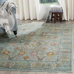Shop Safavieh Valencia Sarit Vintage Boho Oriental Polyester Rug - Overstock - 20603163 - x - Steel Blue Traditional Rugs, Polyester Rugs, Beige Area Rugs, Persian Motifs, Safavieh, Rugs, Colorful Rugs, Steel Blue, Blue Area