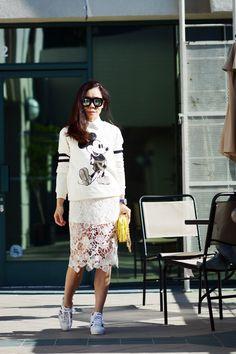 HallieDaily Mickey Sweatshirt Lace Midi Skirt and Sneakers_9