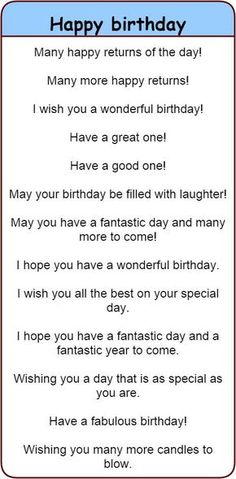 Fun and different ways to wish people 'happy birthday' in English. - Fun and different ways to wish people 'happy birthday' in English. 'Happy birthday' in 30 different languages. English Vocabulary Words, English Idioms, Learn English Words, English Phrases, English Lessons, Learn English Speaking, Fluent English, English Fun, Sms Language