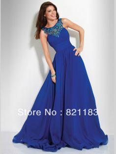 Nueva llegada de cabestro top de lentejuelas cuentas un línea azul real largo de fiesta de graduación Gown, attire,evening dress
