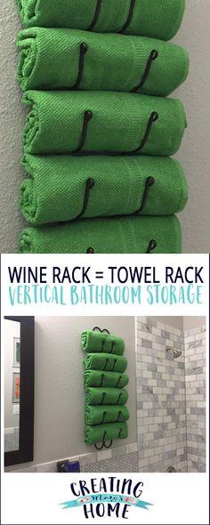 Wine Rack as Towel Rack: Vertical Bathroom Storage - creatingmaryshome.com