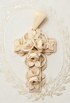 Large Victorian Hand Carved Ivory Cross