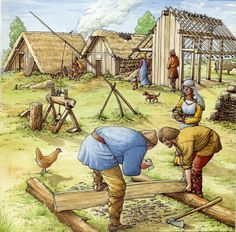 East Anglia | View of a typical Anglo Saxon village of the West Stow type (6th century).