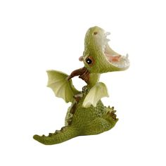 Mini Green Dragon Roaring Figurine