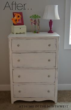 dresser painted with annie sloan chalk paint pure white....at home in the northwest