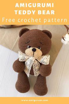 Teddy Bear Patterns Free, Crochet Dolls Free Patterns, Amigurumi Patterns, Free Crochet, Crochet Teddy Bear Pattern, Crochet Doll Pattern, Crochet Crafts, Crochet Projects, Stuffed Animal Patterns