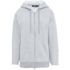 Adidas by Stella McCartney Grey Essential Hoodie ($120) ❤ liked on Polyvore featuring tops, hoodies, grey, logo hoodies, hooded zip sweatshirt, adidas hoodie, zipper hoodie and grey hoodie