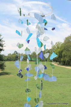 Sea Glass Wind Chimes - * THE COUNTRY CHIC COTTAGE (DIY, Home Decor, Crafts, Farmhouse)