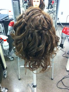 Curly Waterfall hairdo