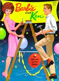 Barbie and Ken paper dolls - love the retro illustration on this cover!