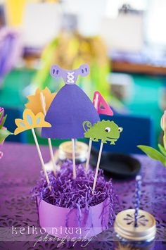 Such cute centerpieces at a Tangled party! See more ideas at CatchMyParty.com! #partyideas #tangled