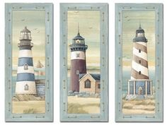 Set of 3 Lighthouse Art Prints Beach Country Coastal Decor 8x20 by wallsthatspeak, http://www.amazon.com/dp/B00CJGOLLC/ref=cm_sw_r_pi_dp_k74Orb0S98N6A