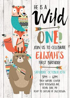 Wild ONE Tribal Forest Animals Woodland Animals Birthday Invitation - Jenny Woodland Animals, Forest Animals, Diy Birthday Invitations, Digital Invitations, Tribal Animals, Baby Boy 1st Birthday, Animal Birthday, Woodland Party, Wild Ones