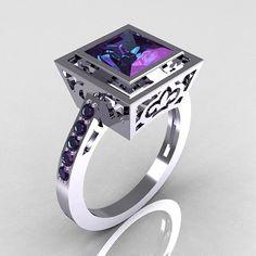 Contemporary French 14K White Gold 1.65 Carat Princess Cut Alexandrite Bridal Ring