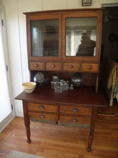OAK-2-PIECE-BAKERS-CABINET-CIRCA-1880-POSSUM-BELLY-DRAWERS-SPICE-CUTTING-BOARD