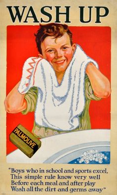 Palmolive Soap Girl and Soap Boy advertisements (c. 1920) featuring each child washing up with Palmolive soap, with a rhyme on washing up under each picture.