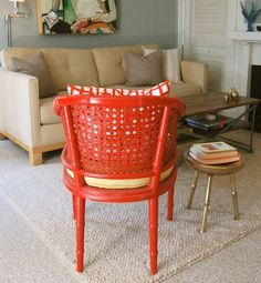 Orange chair paired w neutrals. perfect. The Bright Painted Furniture Movement {Inspiration} | Picklee