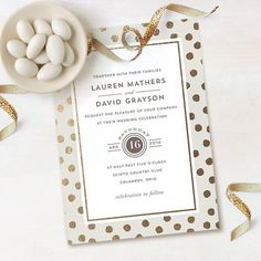 Cute and quirky gold polka dot foil pressed wedding invitation from minted.com