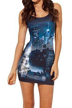 99cbbadd96f0 Pink Queen Womens Night of City Digital Print Low-cut Bodycon Mini Tank  Dress Pink