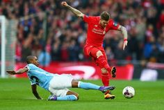 Liverpool v Manchester City in the Capital One Cup final at Wembley Capital One, Liverpool Fc, Manchester City, Finals, Soccer, Running, Brunettes, Football, Racing